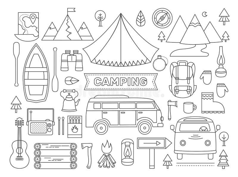 Линия значки установленные располагаться лагерем иллюстрация штока