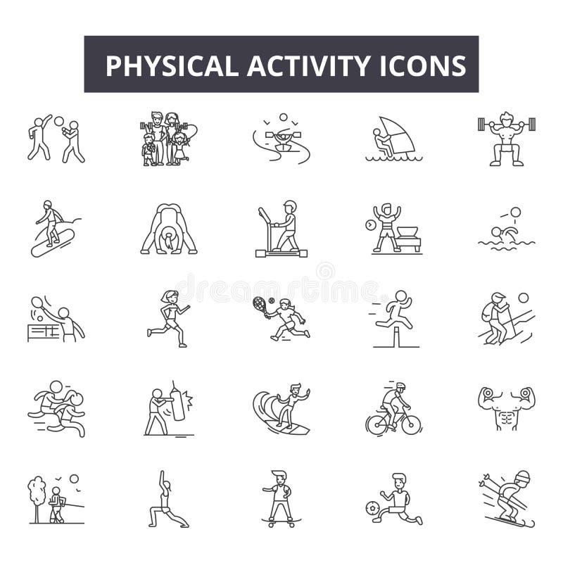 Линия значки физической активности, знаки, набор вектора, концепция иллюстрации плана бесплатная иллюстрация