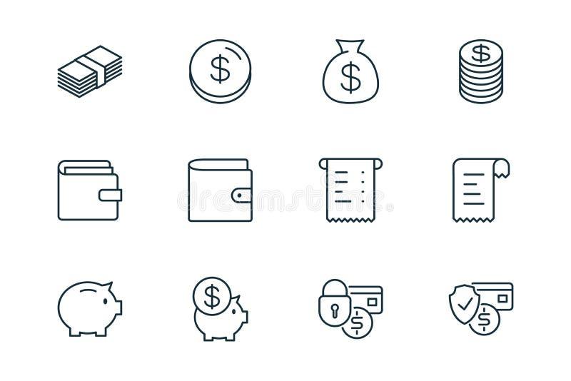 Линия значки финансов электронной коммерции установила на белую предпосылку стоковое изображение rf