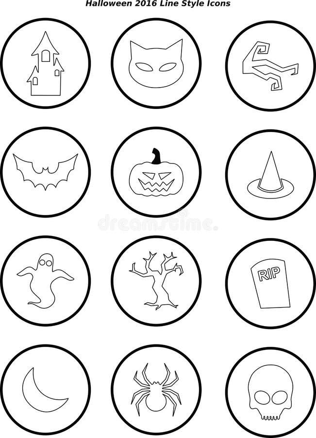 Линия значки хеллоуина 2016 стиля стоковые фотографии rf