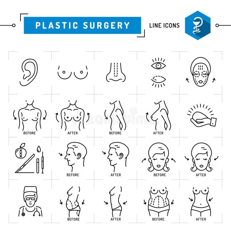 Линия значки черноты концепции пластической хирургии тонкая Vector медицинские символы иллюстрация штока