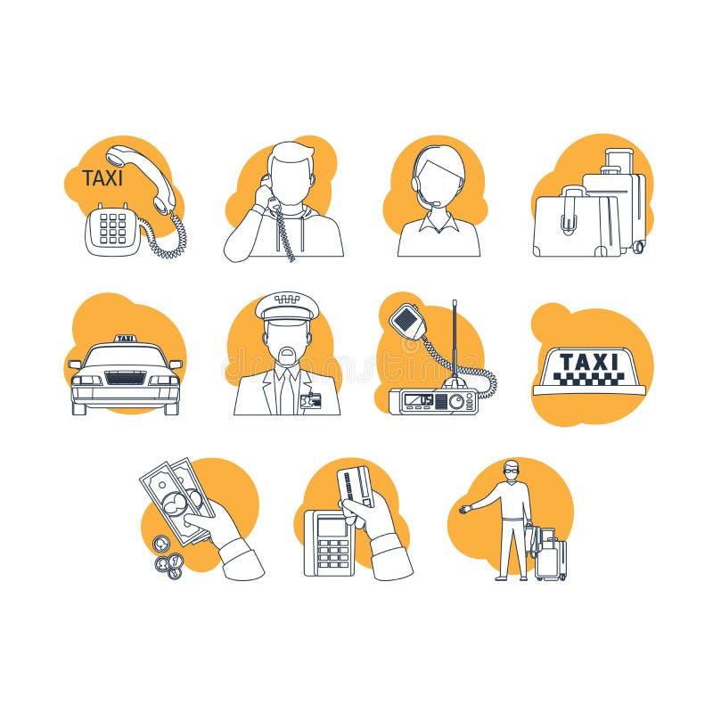 Линия значки шаржа такси бесплатная иллюстрация