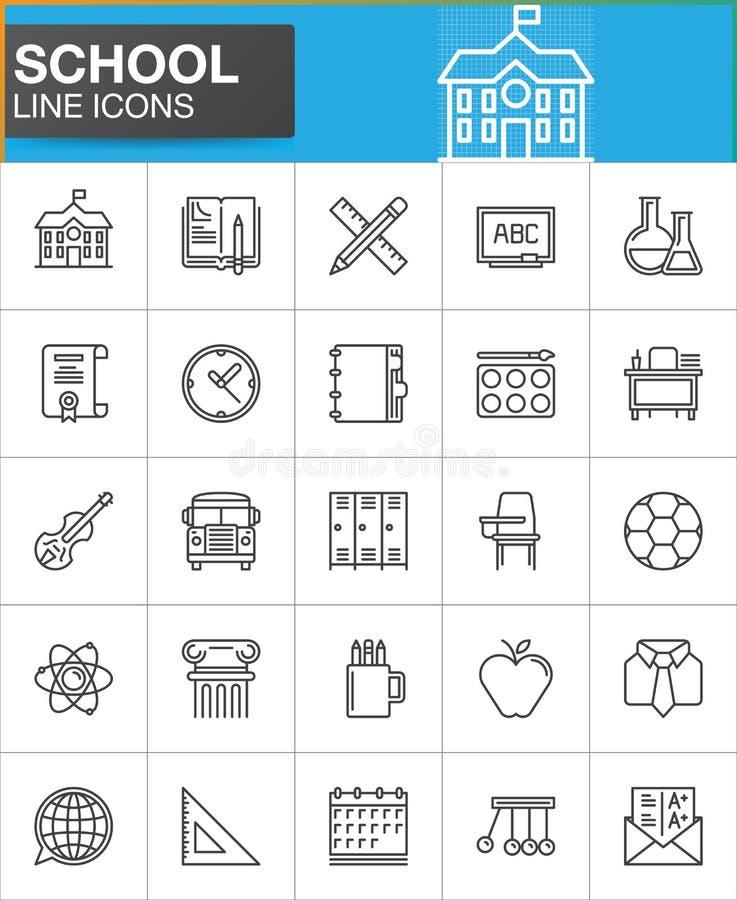 Линия значки школы установила, конспектирует собрание символа вектора бесплатная иллюстрация