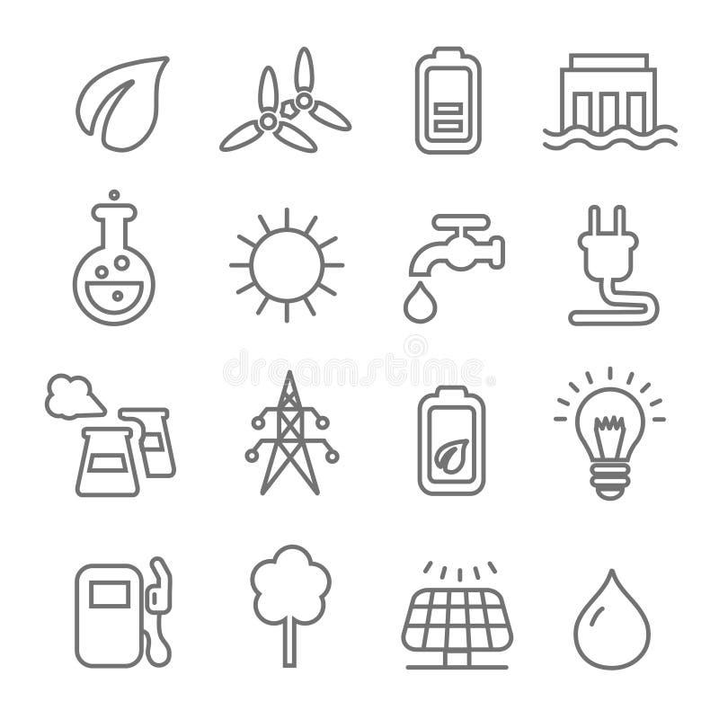Линия значки экологичности обматывает ядерное и солнечную энергию или зеленую энергию способную к возрождению иллюстрация штока