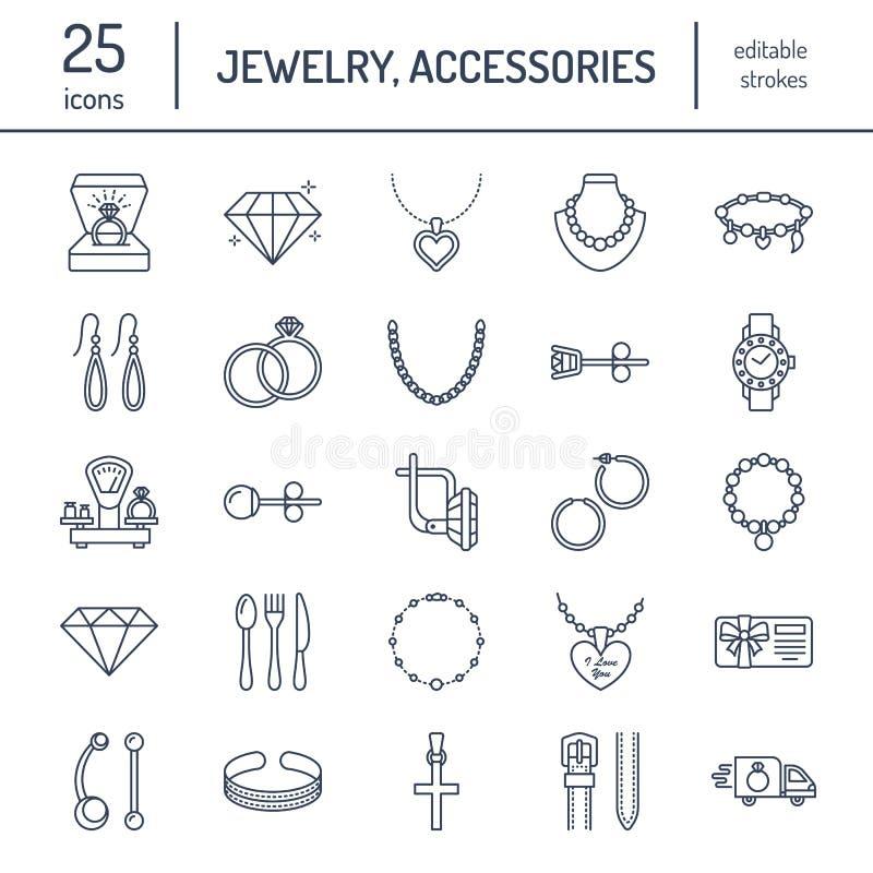 Линия значки ювелирных изделий плоская, магазин украшений подписывает Аксессуары драгоценностей - обручальные кольца золота, серь иллюстрация вектора