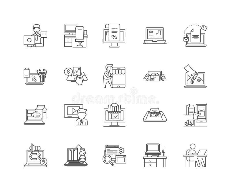 Линия значки Ecommerce, знаки, набор вектора, концепция иллюстрации плана бесплатная иллюстрация