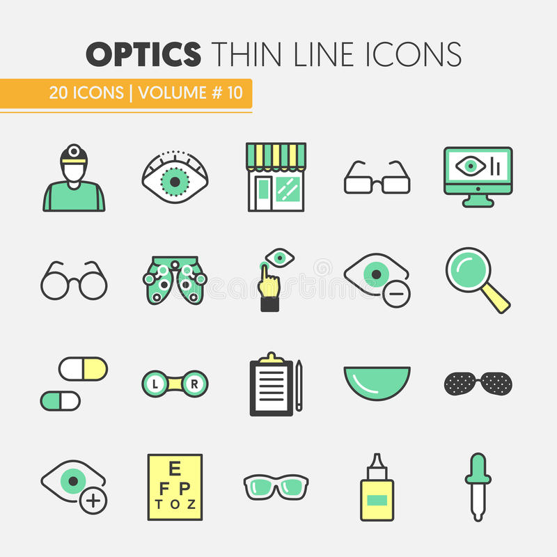 Линия значки Optician тонкая установленные с технологией и Eyeglasses Optometry иллюстрация штока