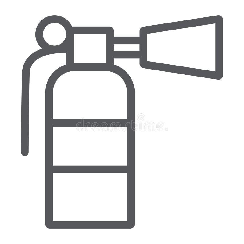 Линия значок, аварийная ситуация и пожаротушение огнетушителя, тушит знак, векторные графики, линейную картину на белом иллюстрация вектора