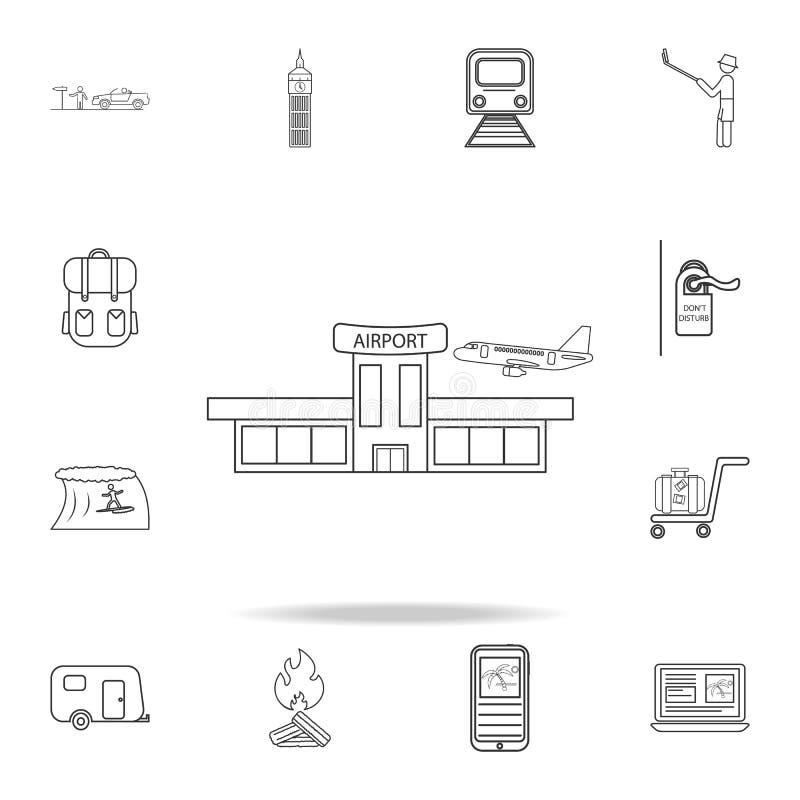 Линия значок авиапорта Комплект значков туризма и отдыха Знаки, собрание мебели плана, простая тонкая линия значки для вебсайтов, бесплатная иллюстрация