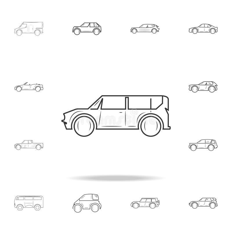 линия значок автомобиля минифургона на белом backgroundicon Детальный комплект значков автомобилей Наградной графический дизайн О иллюстрация штока