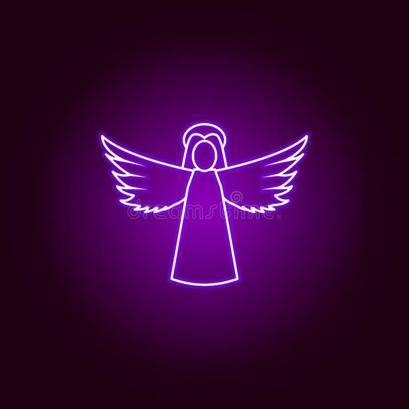 линия значок ангела женщины в неоновом стиле r иллюстрация вектора