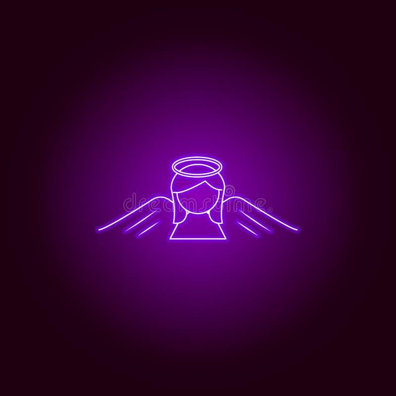 линия значок ангела женщины в неоновом стиле r бесплатная иллюстрация