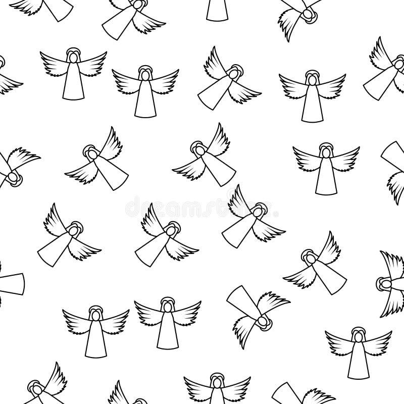 линия значок Анджела женщины в стиле картины Одно значок собрания Анджела и демонов можно использовать для UI, UX на белой предпо иллюстрация вектора