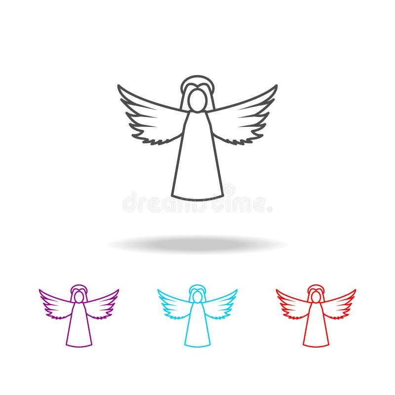 Линия значок Анджела женщины Элементы ангела и демона в multi покрашенных значках Наградной качественный значок графического диза иллюстрация вектора