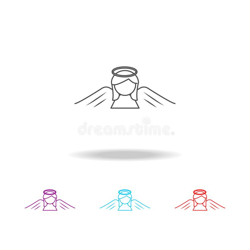 Линия значок Анджела женщины Элементы ангела и демона в multi покрашенных значках Наградной качественный значок графического диза бесплатная иллюстрация