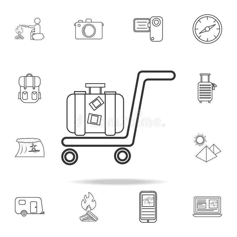 линия значок багажа вагонетки Комплект значков туризма и отдыха Знаки, собрание мебели плана, простая тонкая линия значки для web иллюстрация штока