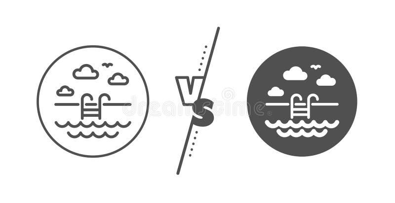 Линия значок бассейна На открытом воздухе знак таза Обслуживание гостиницы r иллюстрация вектора