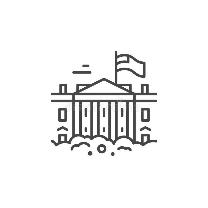 Линия значок Белого Дома иллюстрация вектора
