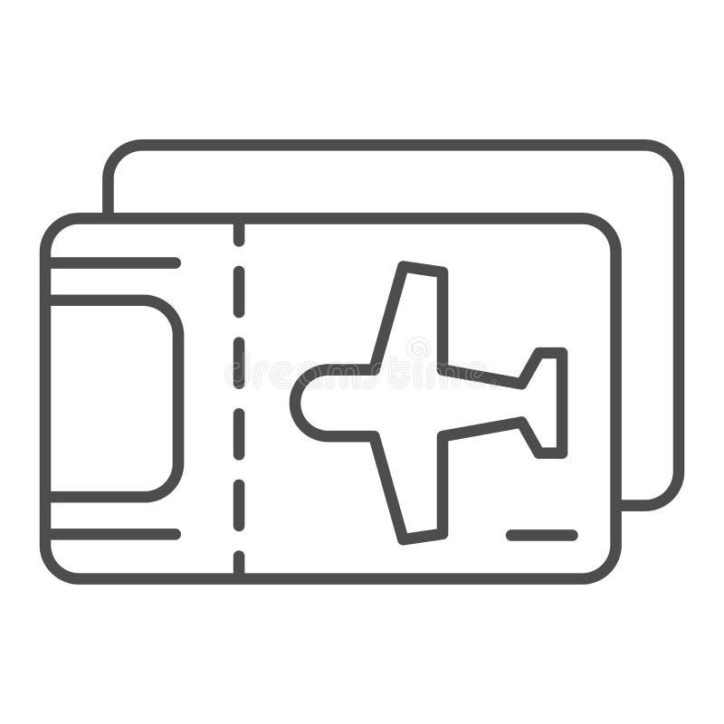 Линия значок билета на самолет тонкая Иллюстрация вектора билета само иллюстрация штока