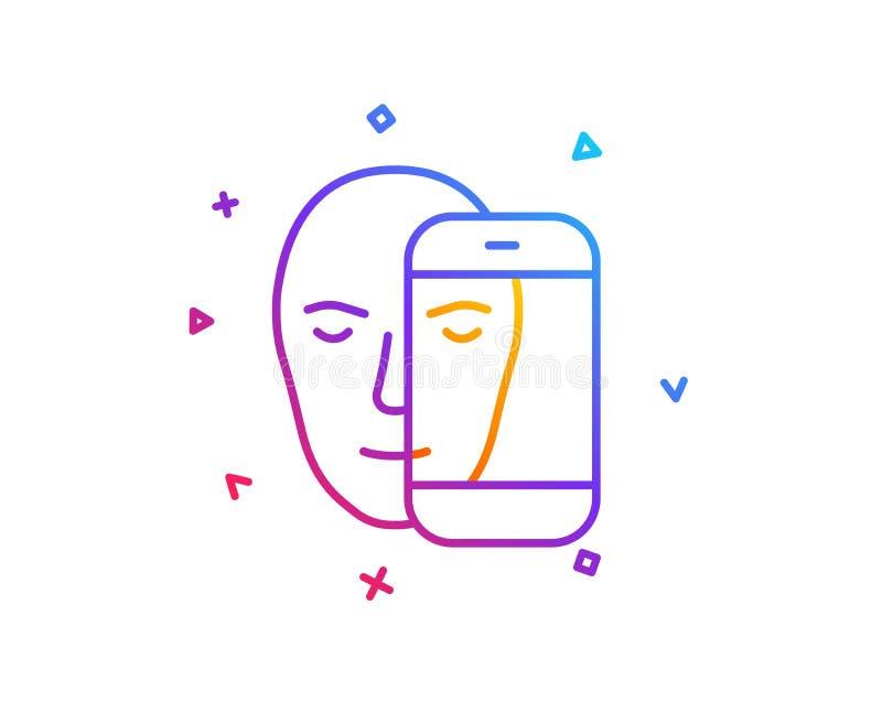 Линия значок биометрии стороны Лицевое опознавание знаком телефона вектор иллюстрация штока