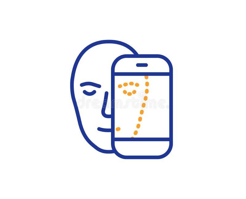 Линия значок биометрии стороны Лицевое опознавание знаком телефона вектор бесплатная иллюстрация