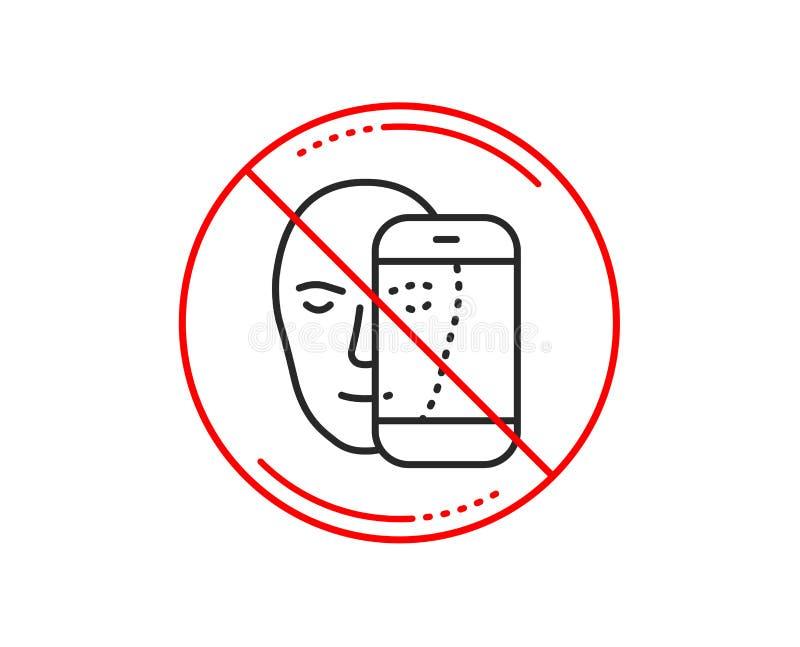 Линия значок биометрии стороны Лицевое опознавание знаком телефона вектор иллюстрация вектора