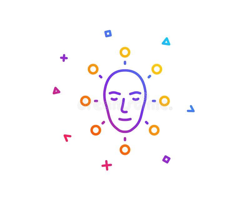 Линия значок биометрии стороны Лицевой знак опознавания вектор бесплатная иллюстрация
