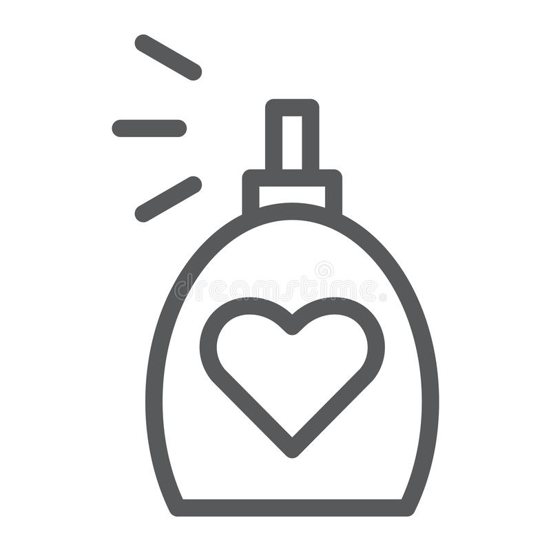 Линия значок благоуханием, ароматность и любовь, знак духов, векторные графики, линейная картина на белой предпосылке иллюстрация вектора