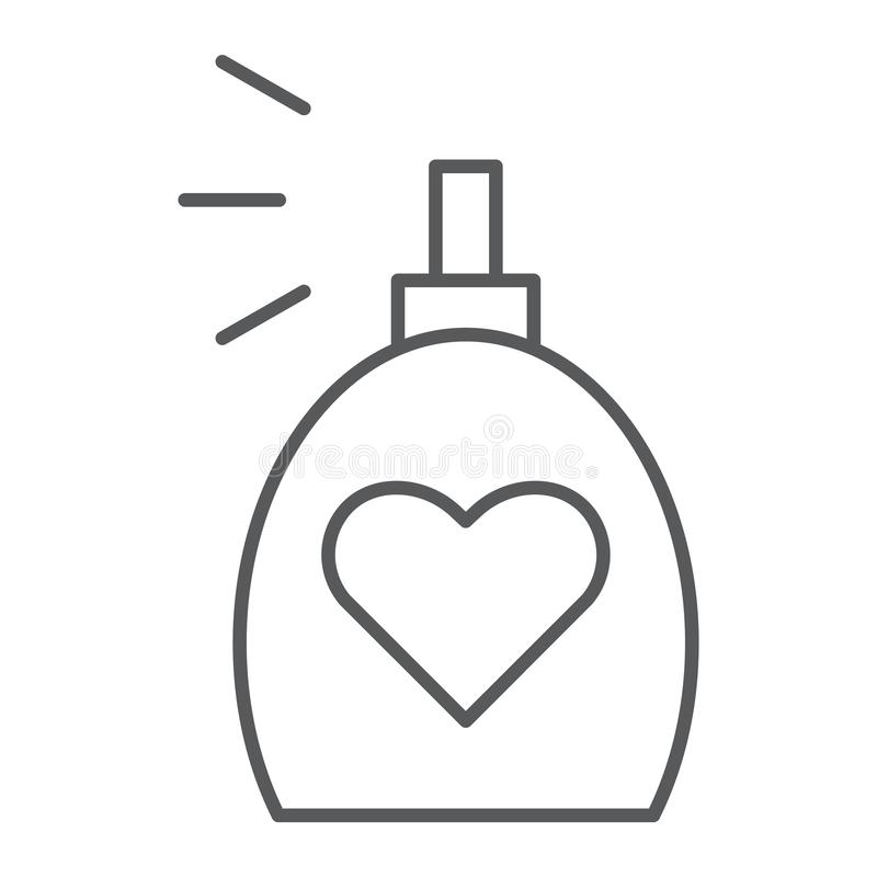 Линия значок благоуханием тонкая, ароматность и любовь, знак духов, векторные графики, линейная картина на белой предпосылке бесплатная иллюстрация