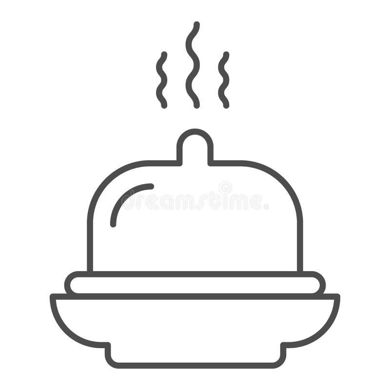Линия значок блюда тонкая Иллюстрация вектора подноса изолированная на белизне Дизайн стиля плана завтрака гостиницы, конструиров бесплатная иллюстрация