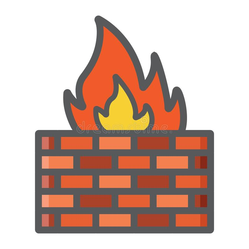 Линия значок брандмауэра красочная, кирпичная стена безопасностью бесплатная иллюстрация