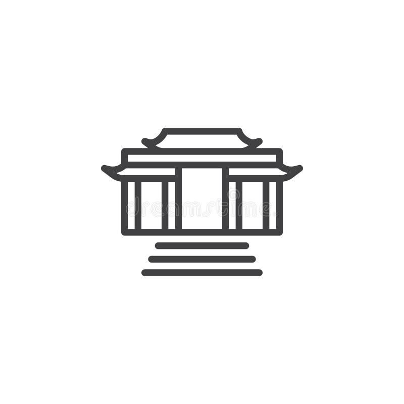 Линия значок буддийского виска иллюстрация штока