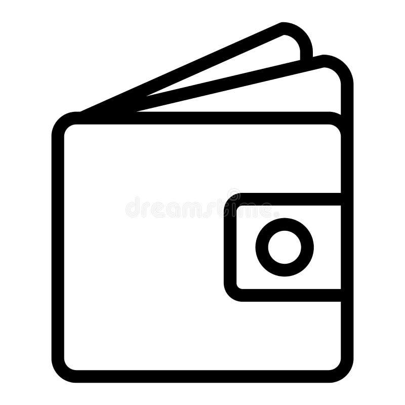 Линия значок бумажника Иллюстрация вектора денег изолированная на белизне Дизайн стиля плана Moneybag, конструированный для сети  иллюстрация штока