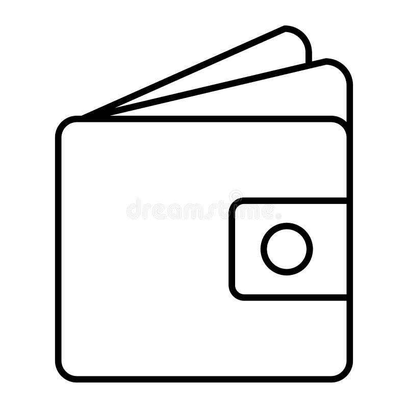 Линия значок бумажника тонкая Иллюстрация вектора денег изолированная на белизне Дизайн стиля плана Moneybag, конструированный дл иллюстрация штока