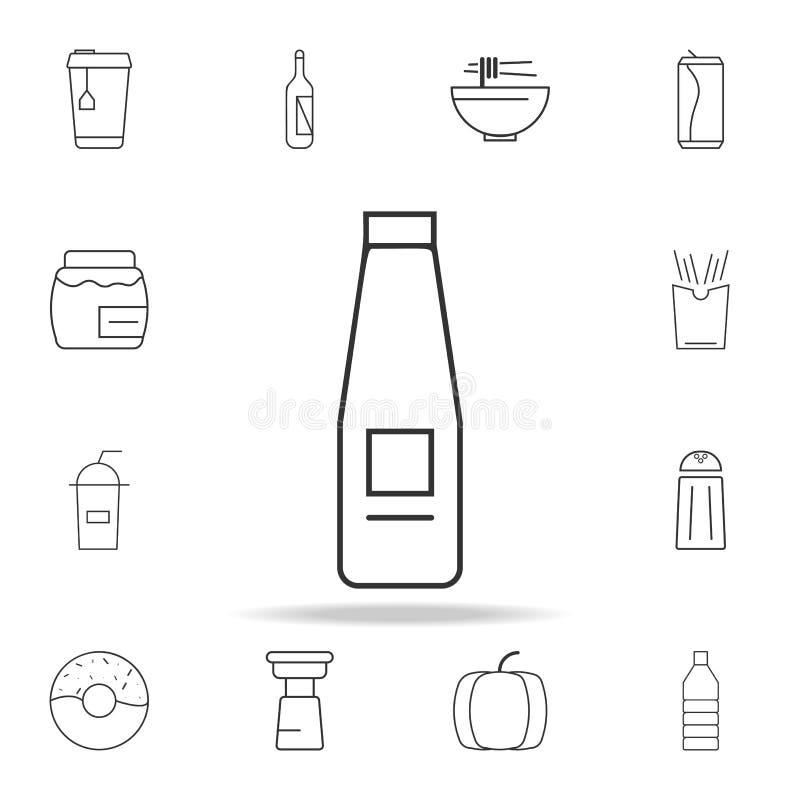Линия значок бутылки молока Детальный комплект значков и знаков сети Наградной графический дизайн Один из значков собрания для ве иллюстрация штока
