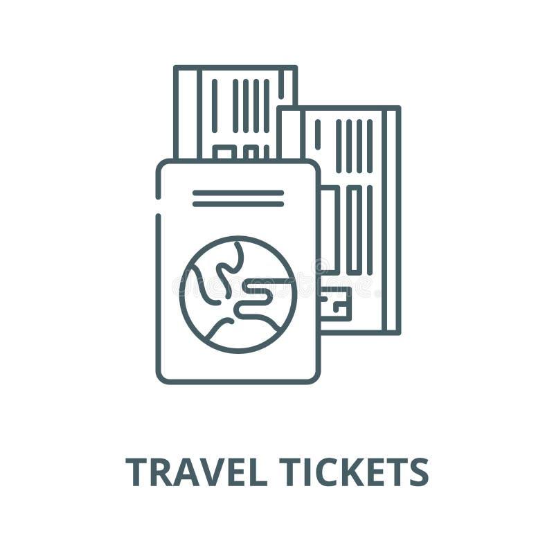 Линия значок вектора билетов перемещения, линейная концепция, знак плана, символ иллюстрация штока