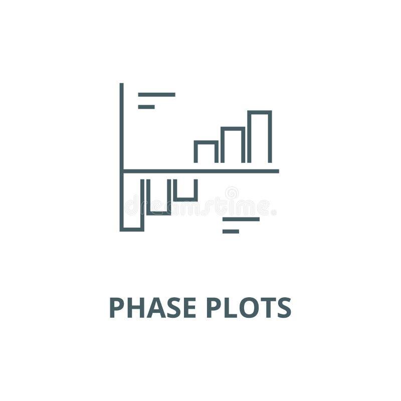 Линия значок вектора графиков участка, линейная концепция, знак плана, символ иллюстрация вектора