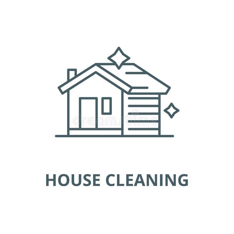 Линия значок вектора дома очищая, линейная концепция, знак плана, символ бесплатная иллюстрация
