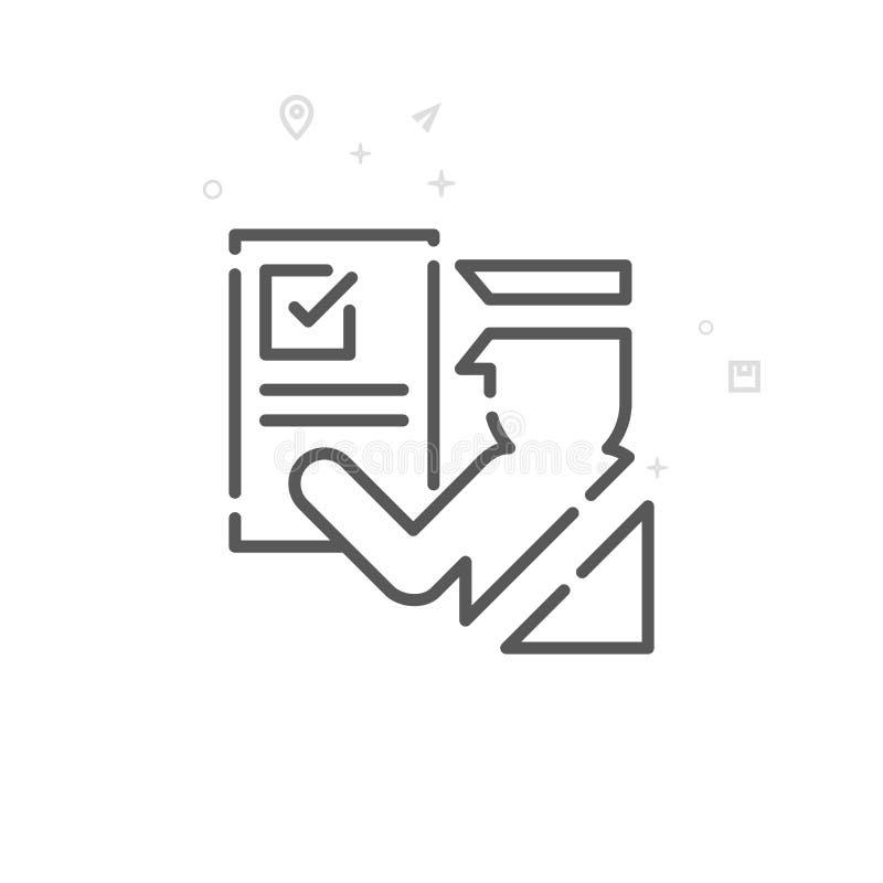 Линия значок вектора зазора таможен, символ, пиктограмма, знак Светлая абстрактная геометрическая предпосылка Editable ход бесплатная иллюстрация