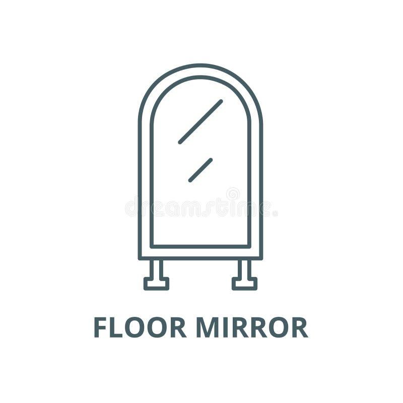 Линия значок вектора зеркала пола, линейная концепция, знак плана, символ иллюстрация штока
