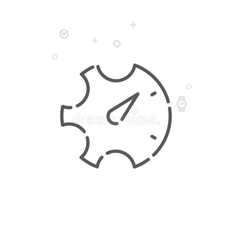 Линия значок вектора контроля времени, символ, пиктограмма, знак Светлая абстрактная геометрическая предпосылка Editable ход иллюстрация штока