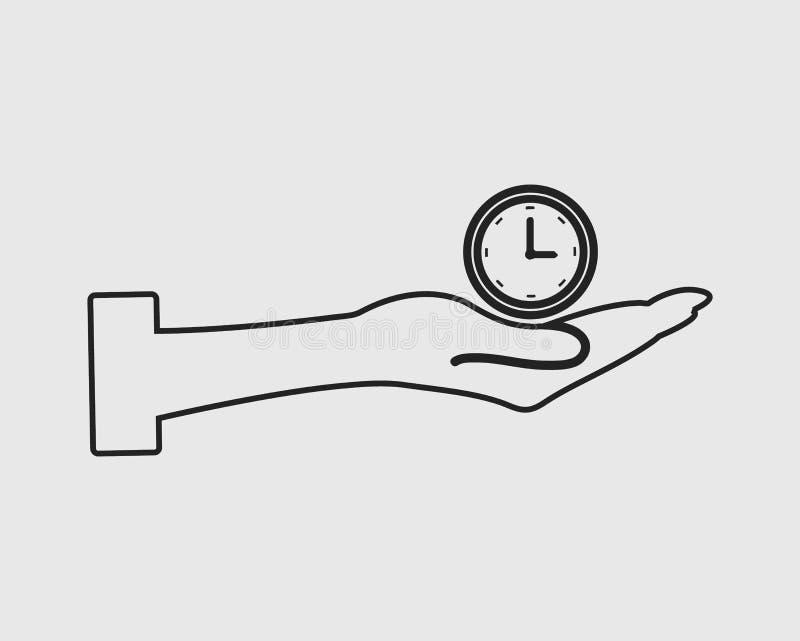 Линия значок вектора контроля времени иллюстрация вектора