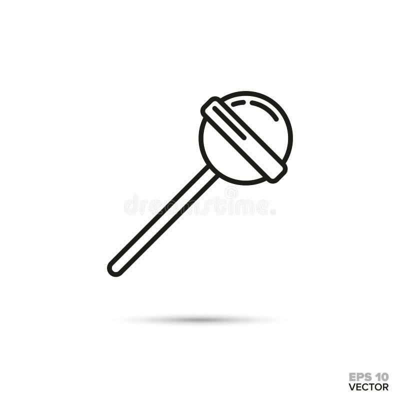 Линия значок вектора леденца на палочке иллюстрация штока