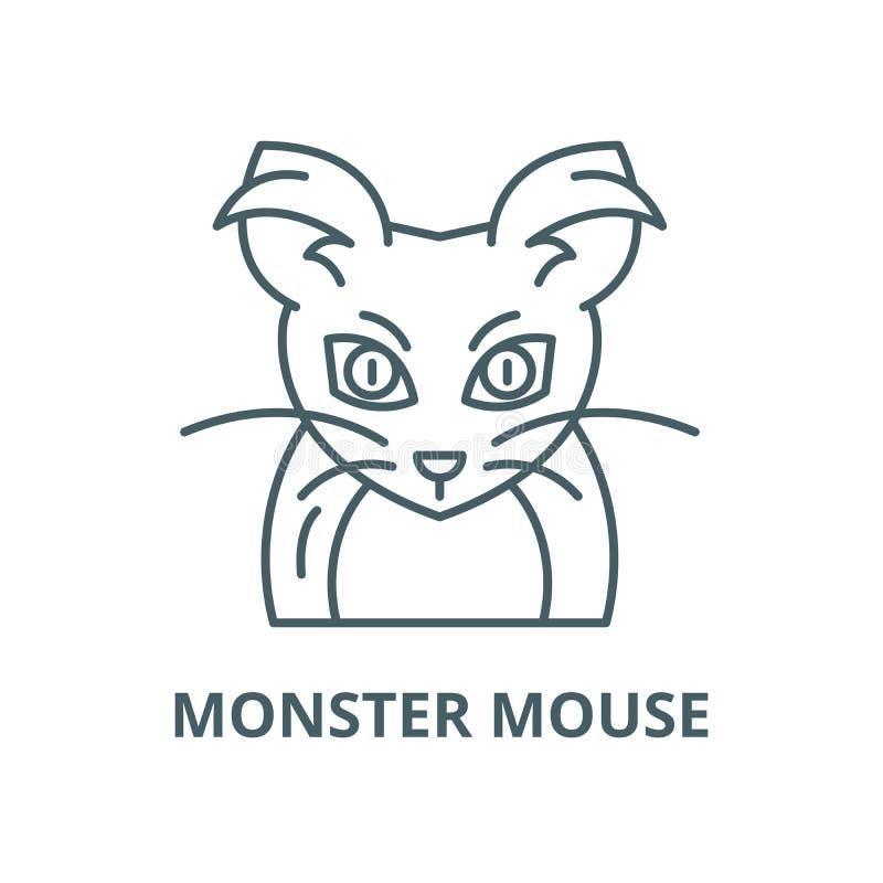 Линия значок вектора мыши чудовища, линейная концепция, знак плана, символ иллюстрация вектора
