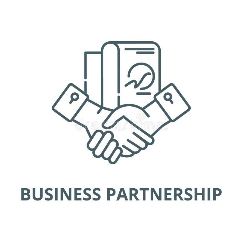 Линия значок вектора партнерства дела, линейная концепция, знак плана, символ иллюстрация вектора