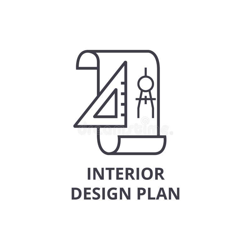 Линия значок вектора плана дизайна интерьера, знак, иллюстрация на предпосылке, editable ходах бесплатная иллюстрация
