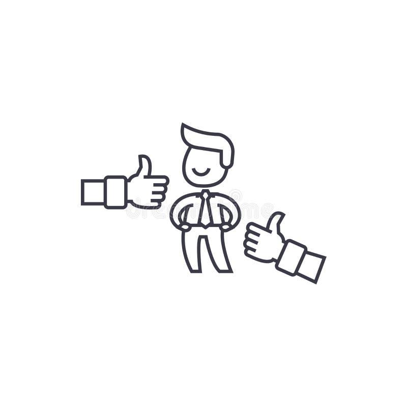 Линия значок вектора положительного результата воздействия, знак, иллюстрация на предпосылке, editable ходах иллюстрация вектора