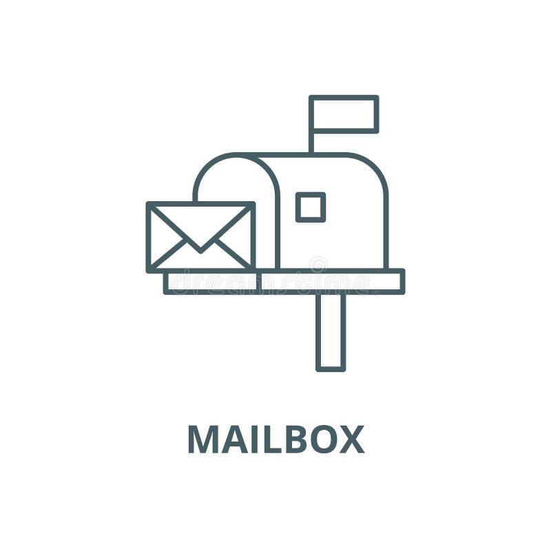 Линия значок вектора почтового ящика, линейная концепция, знак плана, символ иллюстрация штока