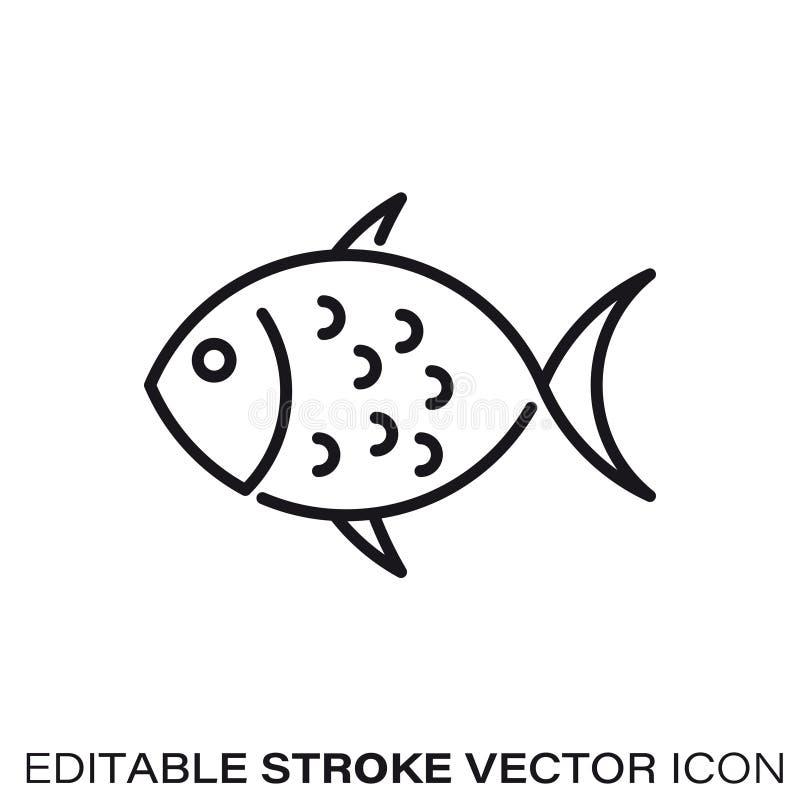 Линия значок вектора рыб иллюстрация вектора
