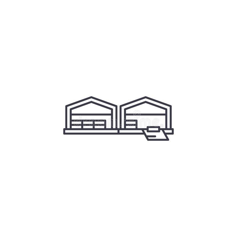 Линия значок вектора склада снабжения, знак, иллюстрация на предпосылке, editable ходах бесплатная иллюстрация